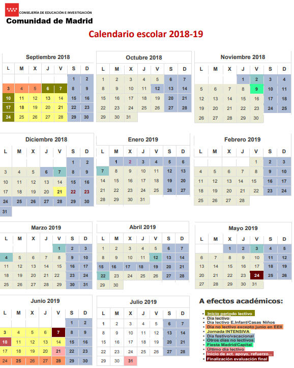 Calendario Escolar Madrid 2020 2019.Calendario Escolar Para El Curso 2018 2019 En Los Centros Educativos