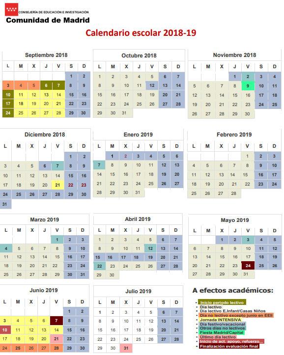 Calendario Escolar 2019 Madrid.Calendario Escolar Para El Curso 2018 2019 En Los Centros Educativos