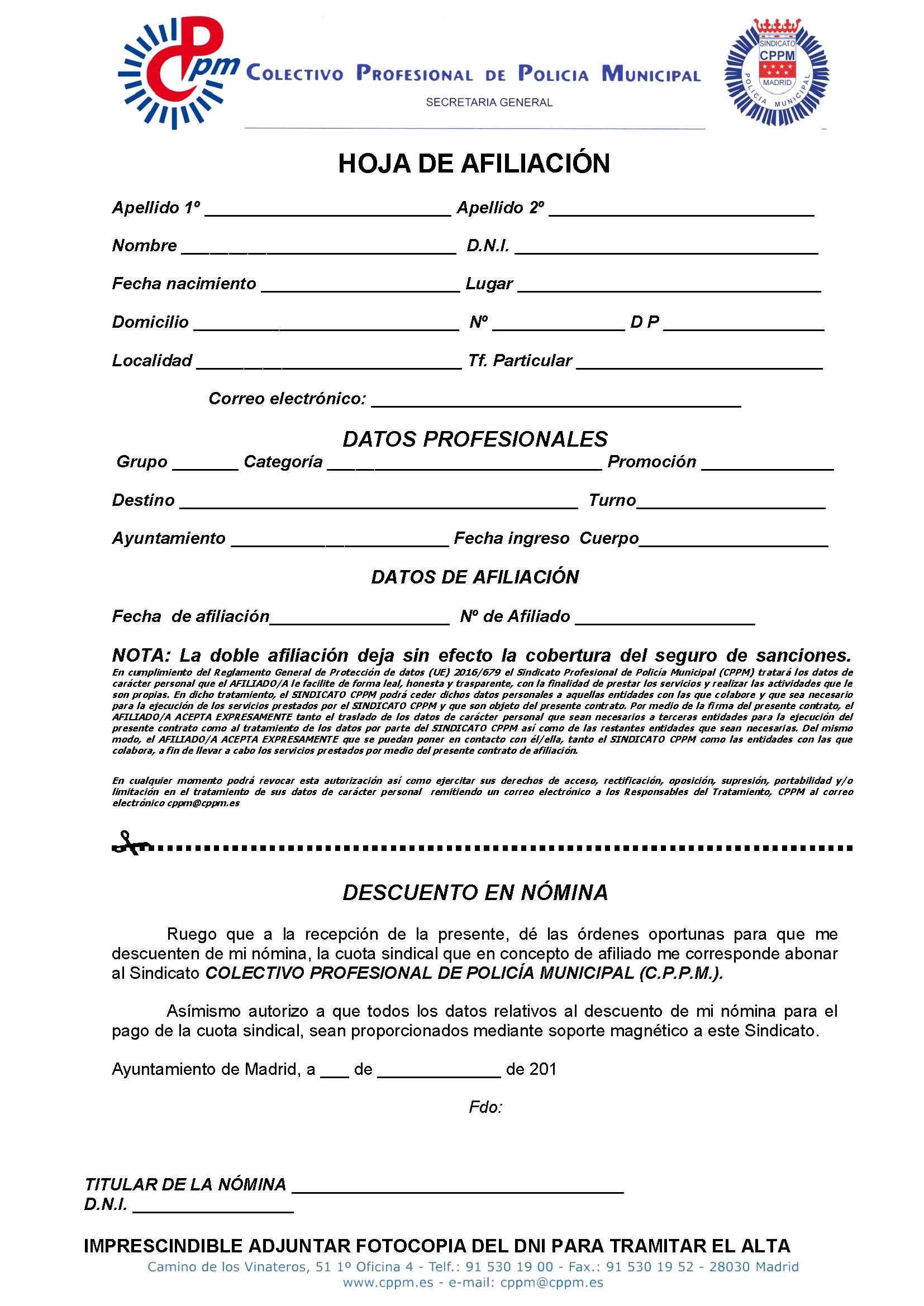 Hoja afiliación sindicato CPPM descuento en nómina Ayto Madrid