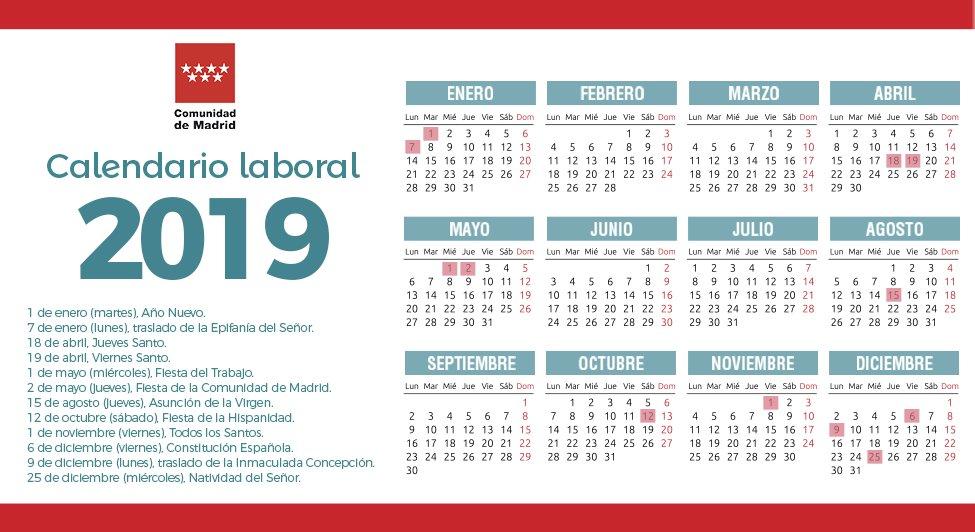 Boe Calendario.Calendario Laboral Comunidad De Madrid 2019 Cppm