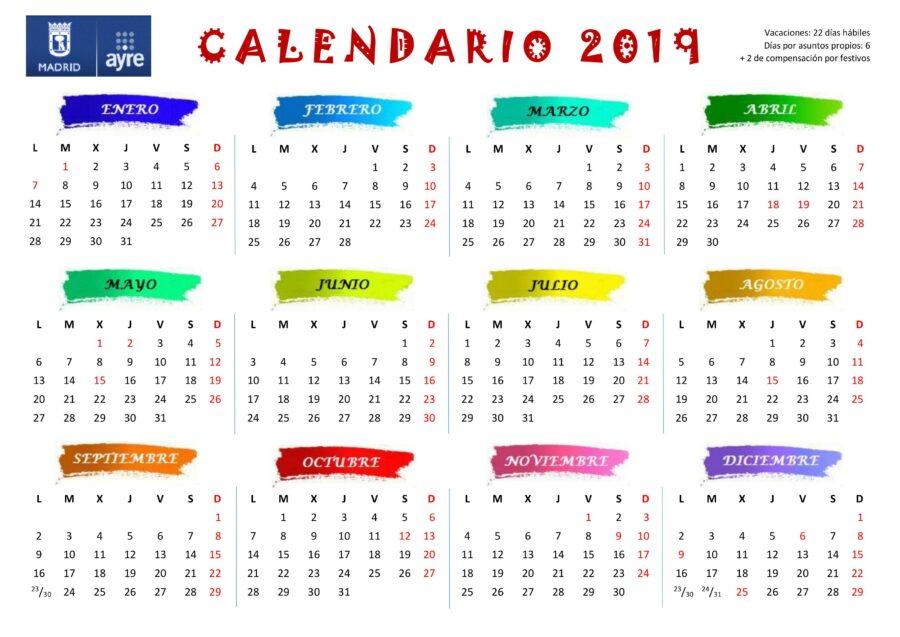 calendario laboral 2019  ayto madrid