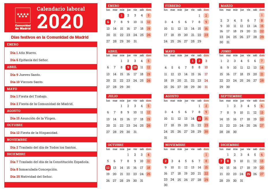 Calendario laboral Comunidad Madrid 2020
