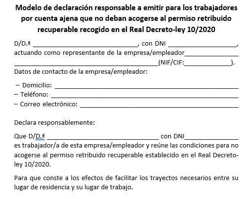 Modelo Declaración Responsable trabajadores
