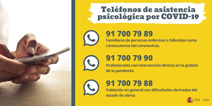 Teléfonos de asistencia psicológica COVID-19