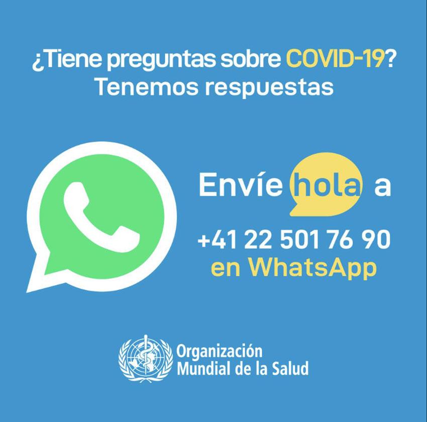 Whatsapp Organización Mundial de la Salud en español