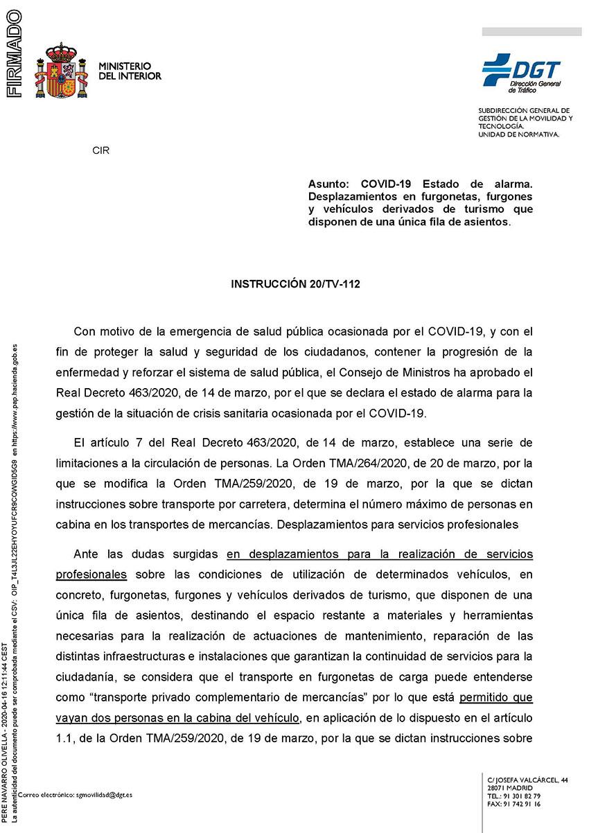 INSTRUCCIÓN 20/TV-112 Furgonetas
