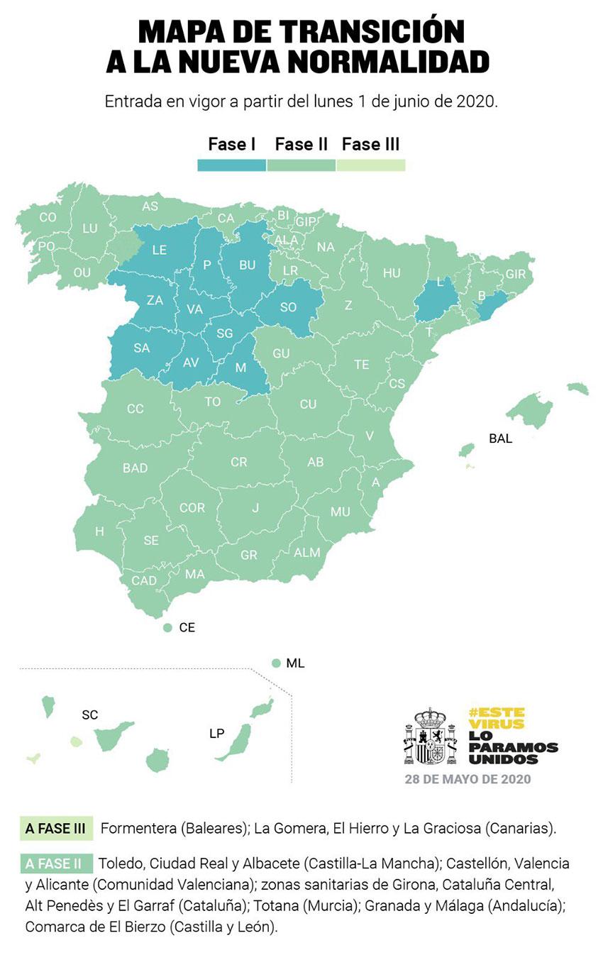 Mapa transicion nueva normalidad 1 junio 2020