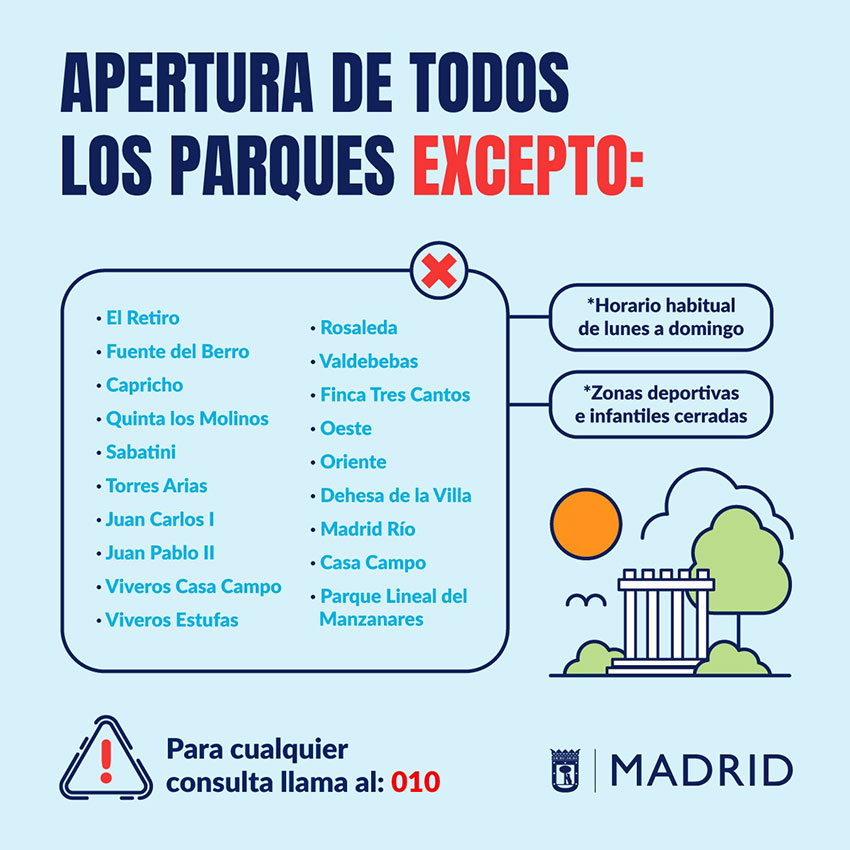 Parques abiertos Ayto Madrid COVID-19