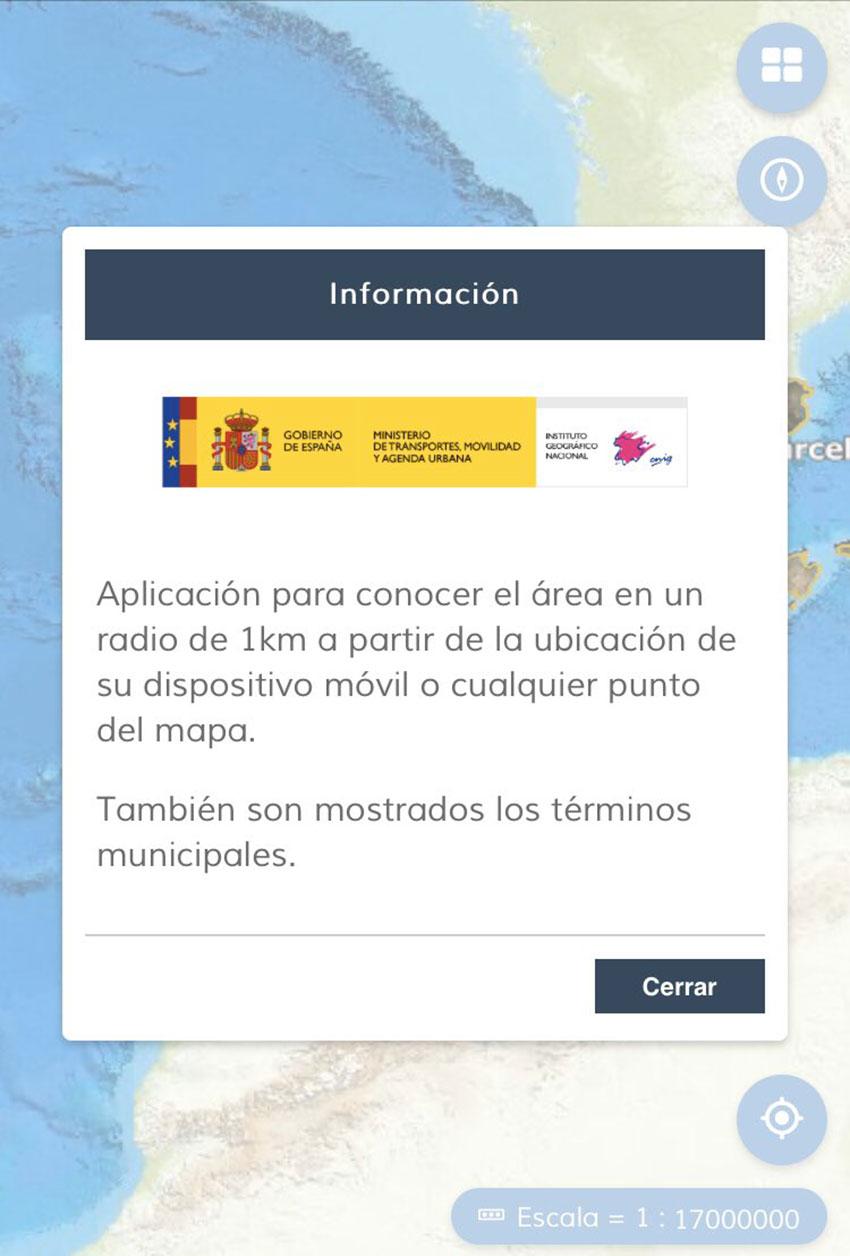 Radio 1 km aplicación Instituto geográfico Nacional