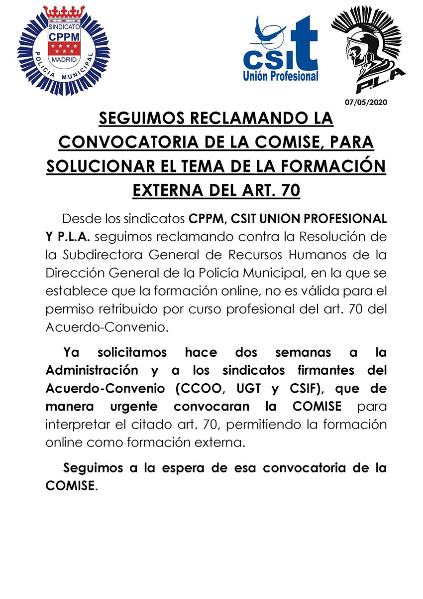 COMISE interpretación artículo 70 Acuerdo Ayto Madrid Formación externa