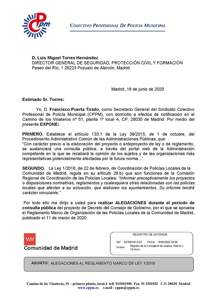 Alegaciones borrador Reglamento Marco Ley 1/2018 CPPM