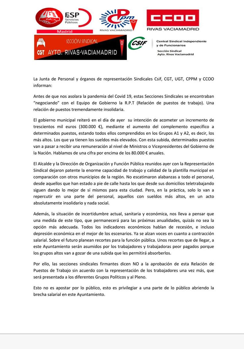Comunicado conjunto secciones sindicales Rivas-Vaciamadrid