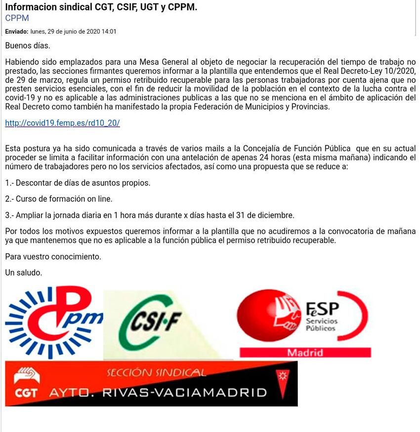 Comunicado conjunto secciones sindicales Rivas-Vaciamadrid 29 junio 2020