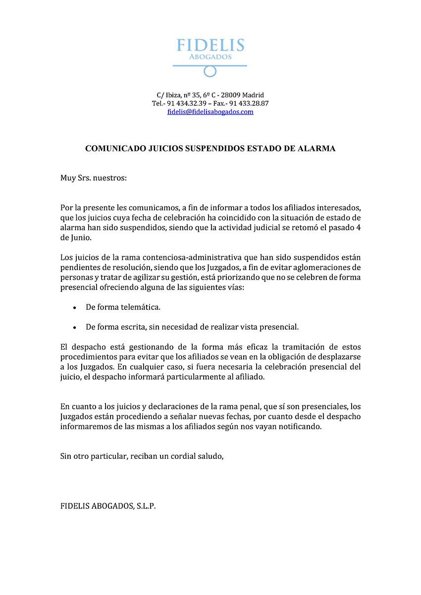 Comunicado juicios suspendidos estado alarma Fidelis abogados