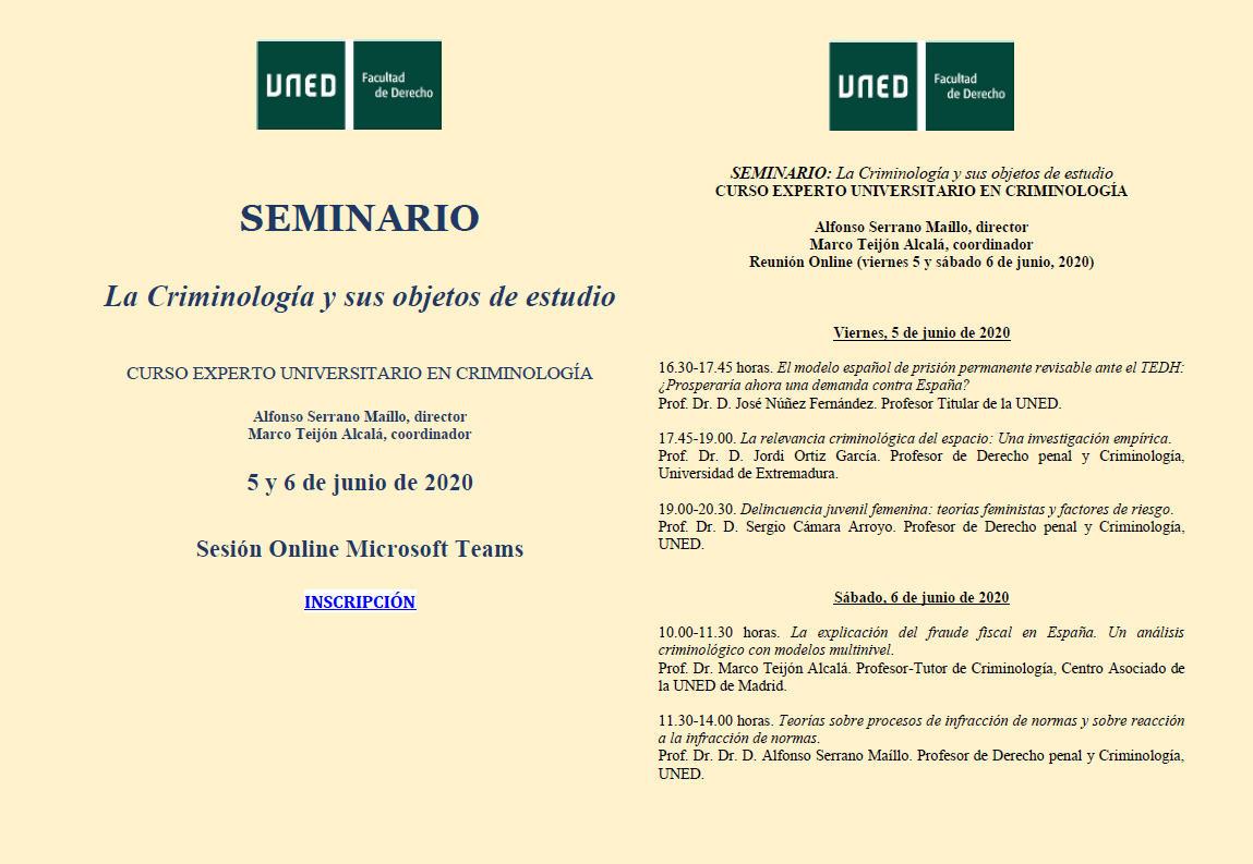 Seminario Criminología 5 y 6 junio 2020