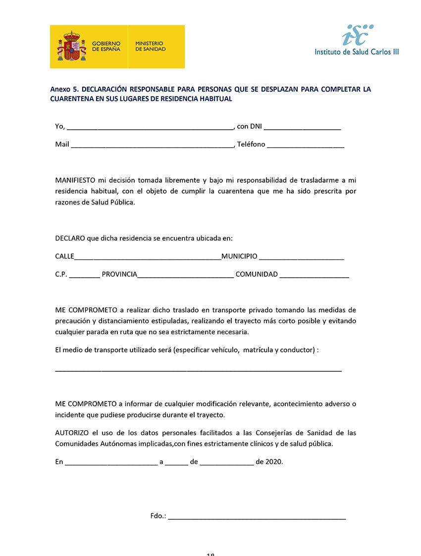 Declaración responable cuarentena COVID-19