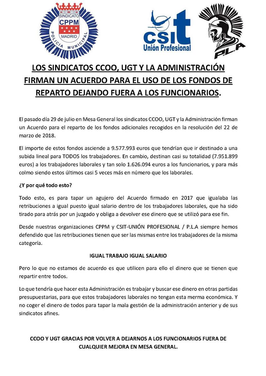 Sindicatos CCOO y UGT firman acuerdo uso fondos reparto