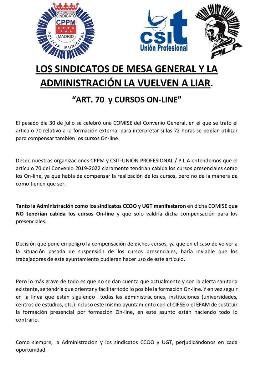 CCOO y UGT intepretan artículo 70 formación externa Acuerdo Convenio Ayto Madrid
