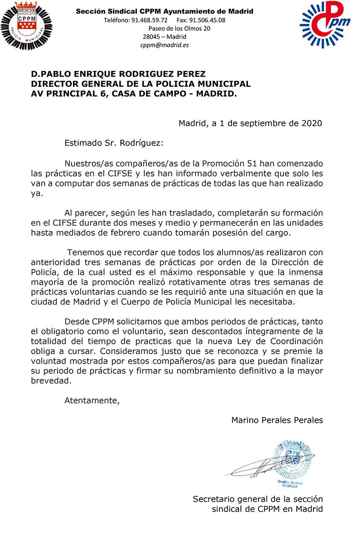 Prácticas voluntarias promoción 51 Policía Municipal Madrid