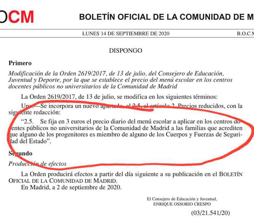 Precio reducido comedor escolar Comunidad Madrid