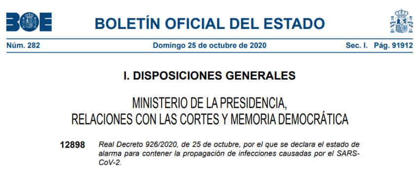 Declaración Estado Alarma Nacional BOE 25/10/2020
