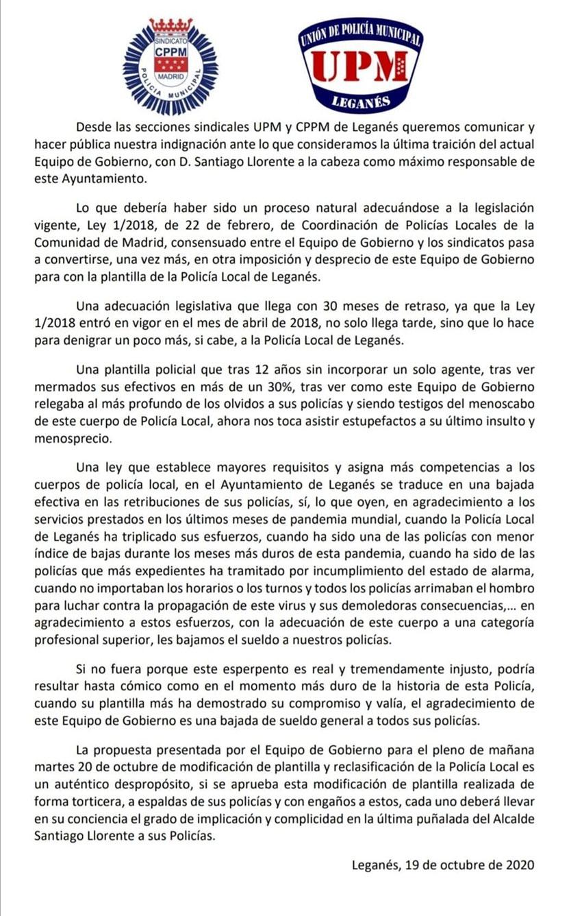 Comunicado conjunto CPPM y UPM Leganés reclasificación Policías locales