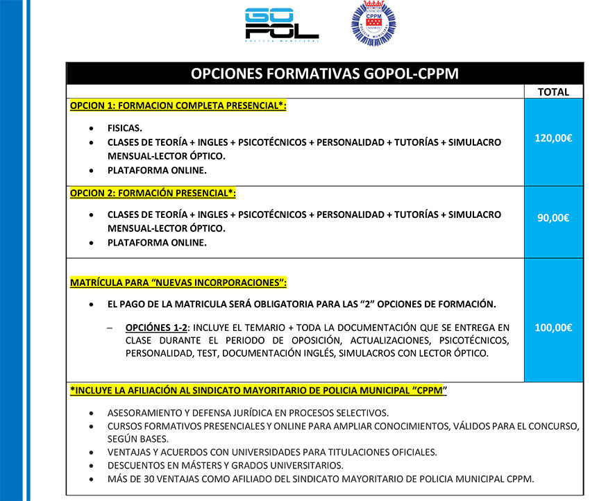 Tarifas y opciones preparación GOPOL-CPPM