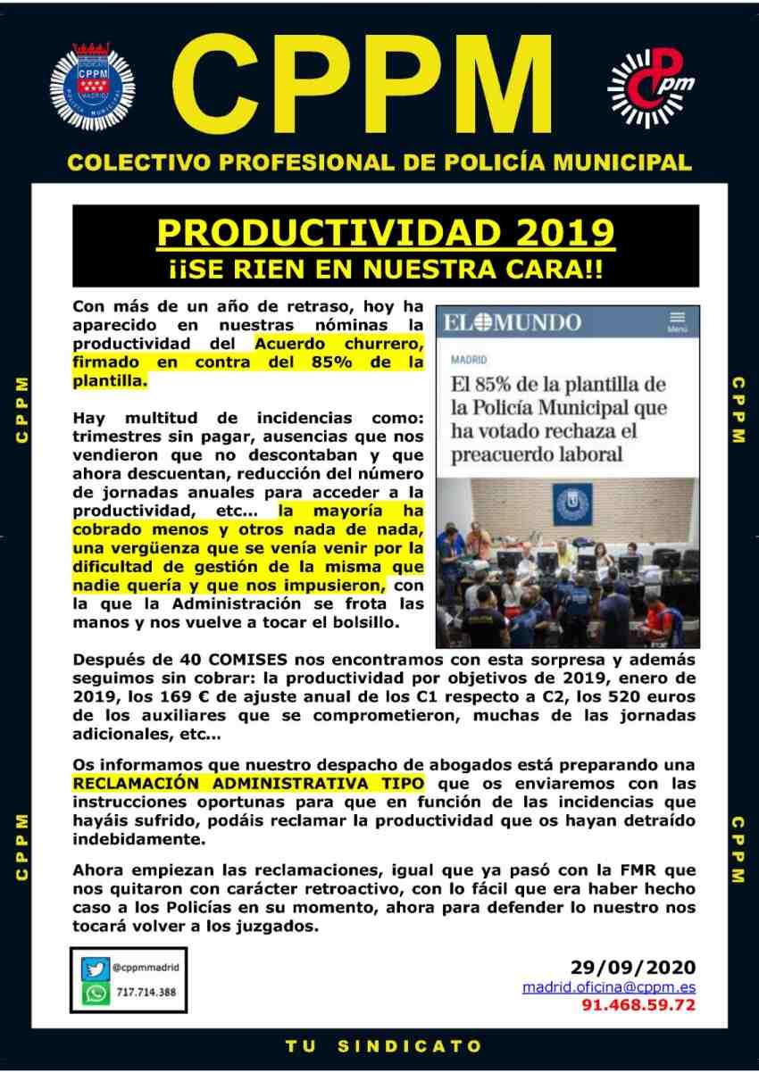 Productividad 2019. Se ríen en nuestra cara CPPM Madrid