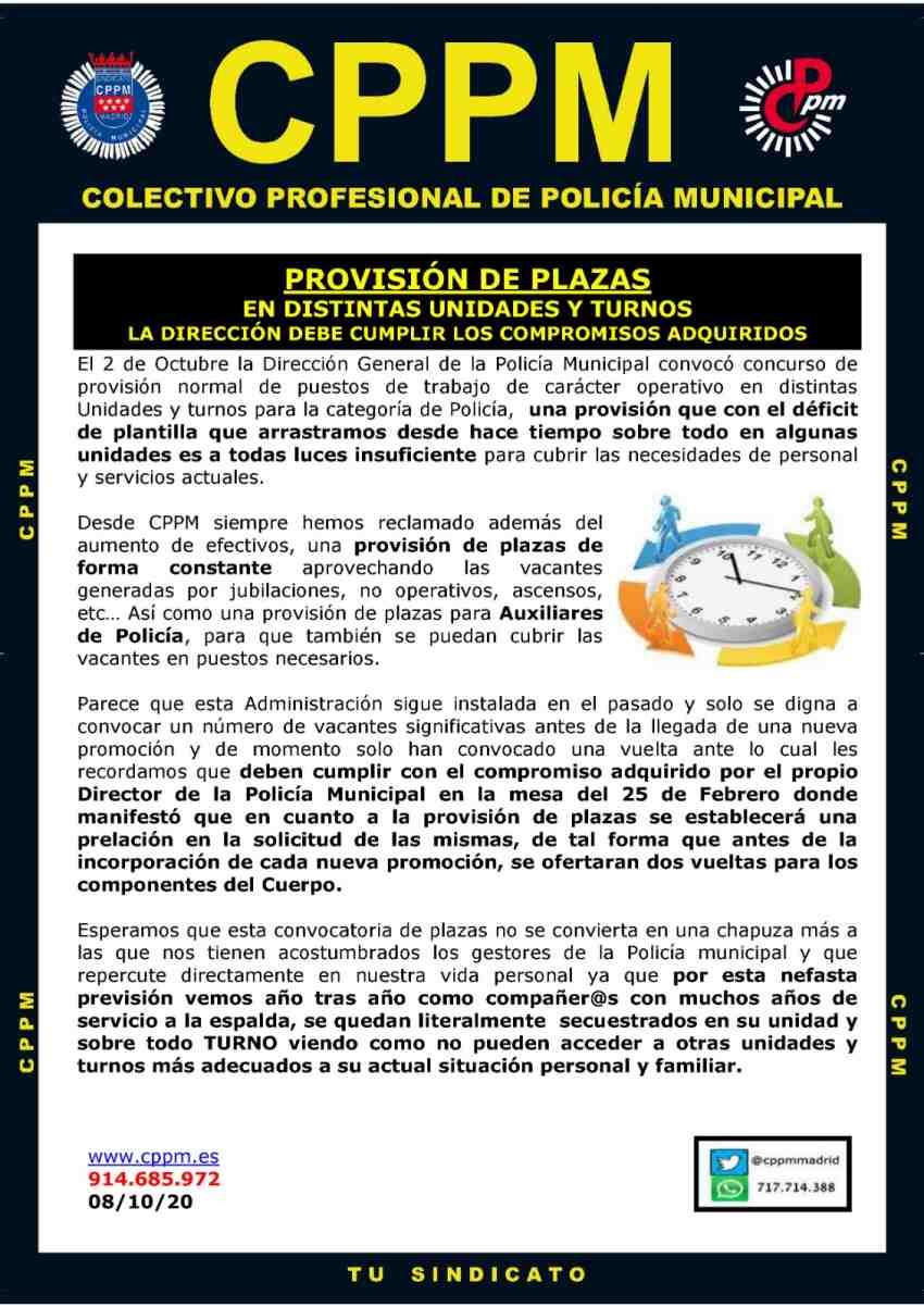 Provisión plazas Policía Municipal Madrid