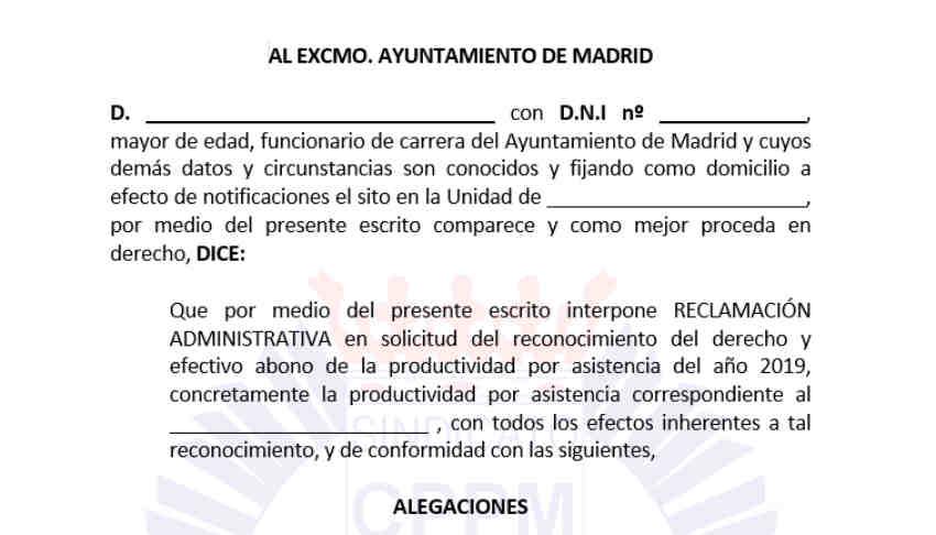 Reclamación administrativa productividad por asistencia 2019 Policía Municipal Madrid
