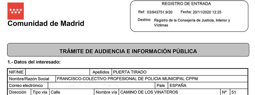 Alegaciones reglamento marco policias locales comunidad madrid registro