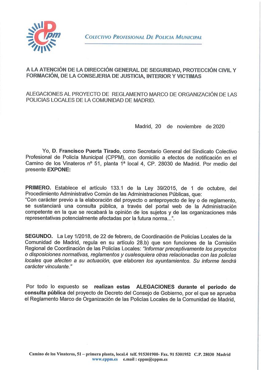 Alegaciones reglamento marco policias locales comunidad madrid