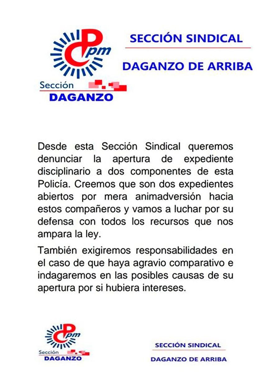 Denuncia por apertura 2 expedientes Daganzo de Arriba Policía local