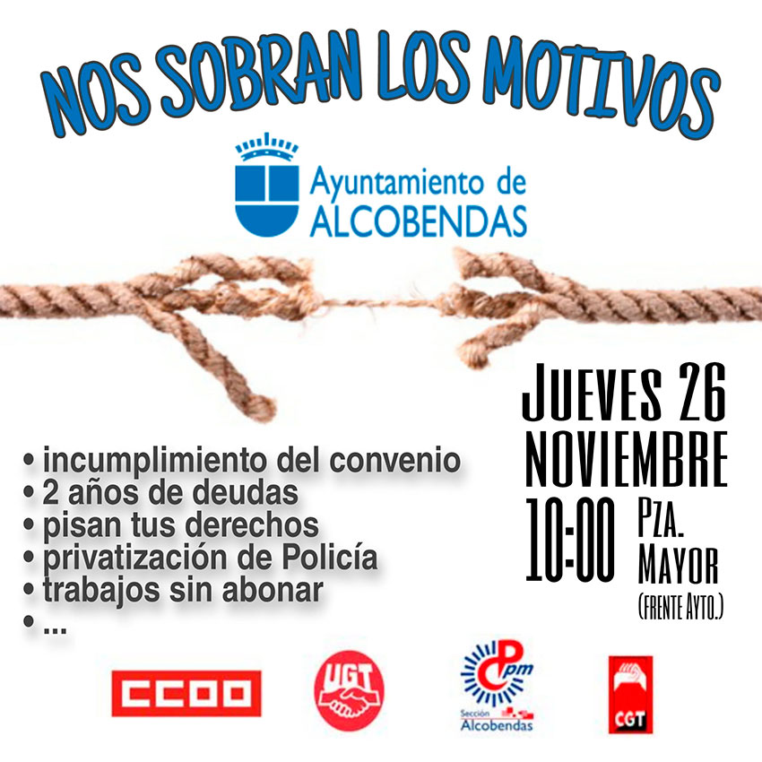 Concentración Alcobendas 26 noviembre 2020 nos sobran los motivos