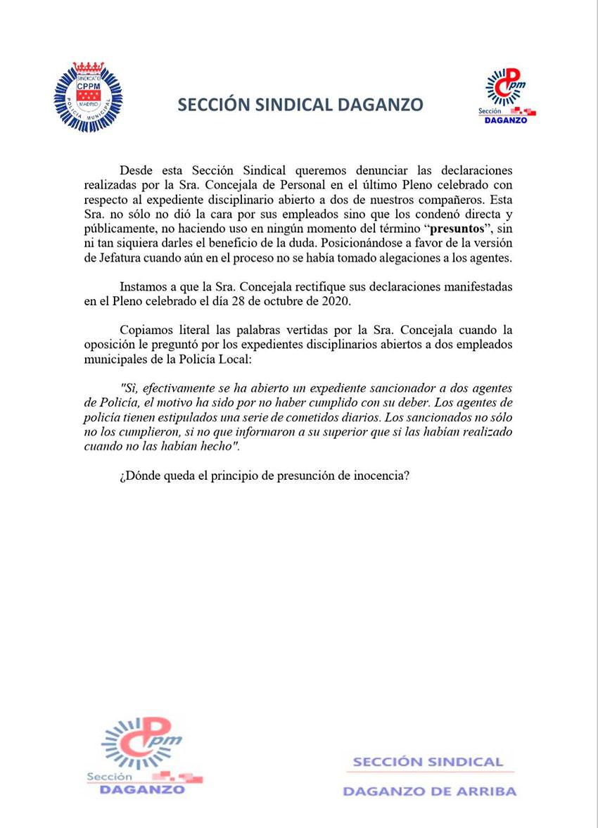 Comunicado CPPM Daganzo instando a que la Concejala de Seguridad rectifique las declaraciones del Pleno