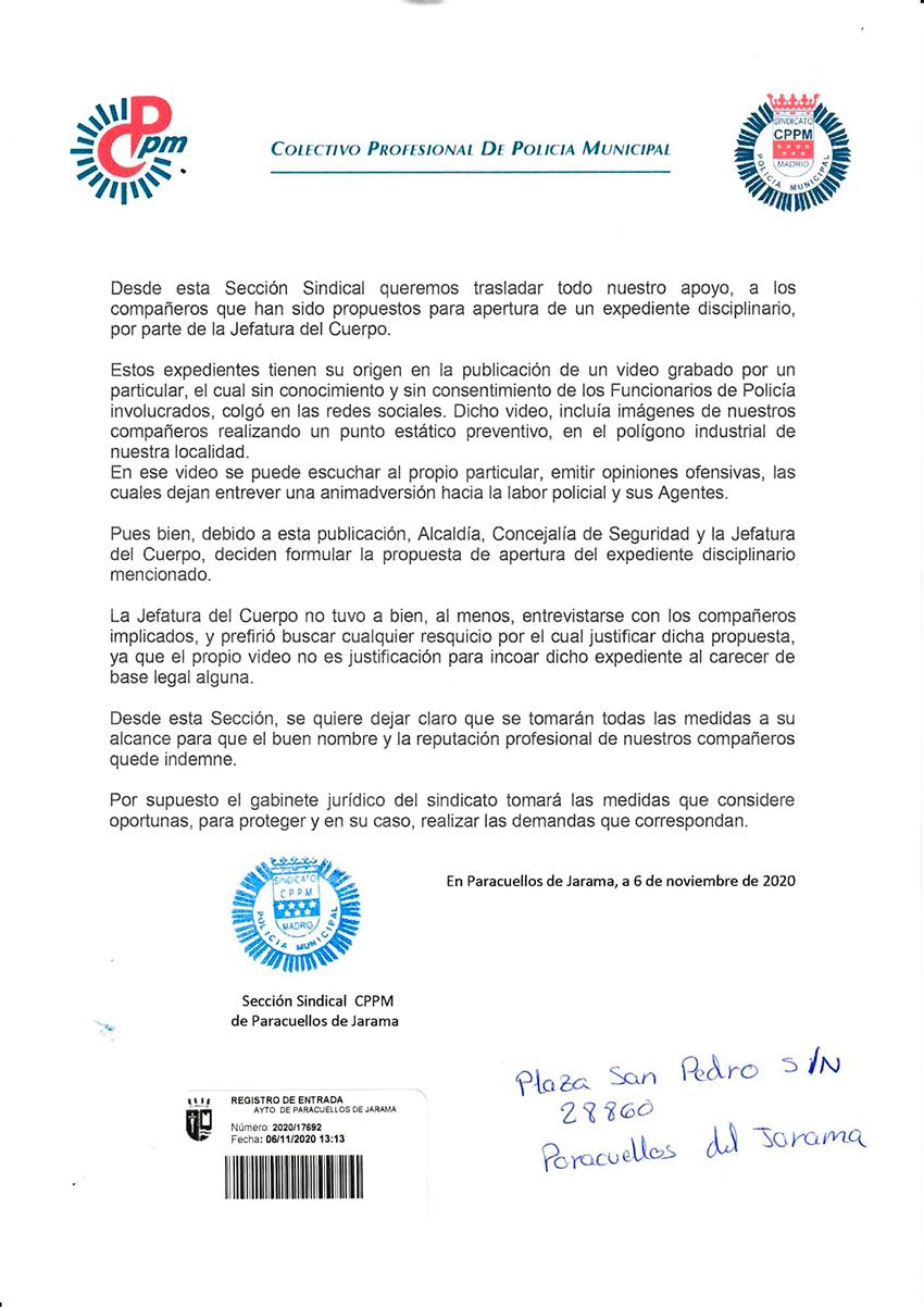 CPPM Paracuellos de Jarama apoyo compañeros propuestos para expediente