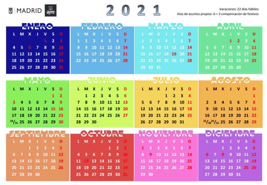 Calendario laboral Ayto Madrid 2021