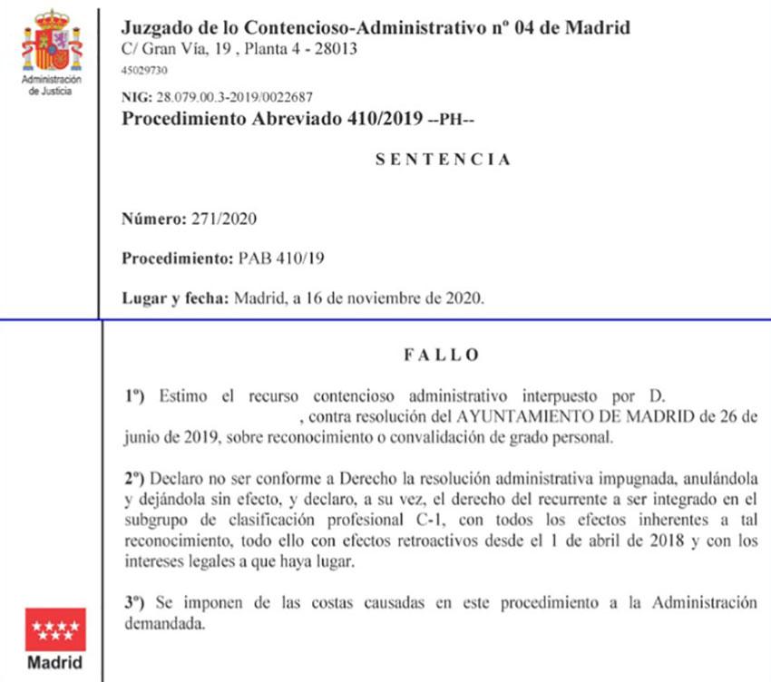 Sentencia Ganada Reclasificación C1 con título de técnico Ayto Madrid