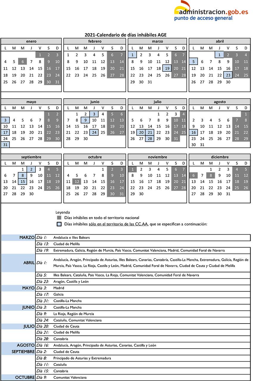 calendario dias inhabiles AGE 2010