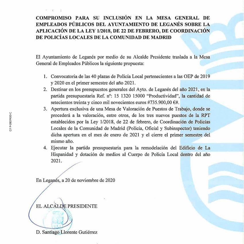 Compromisos Ayto Leganés con sindicatos policía