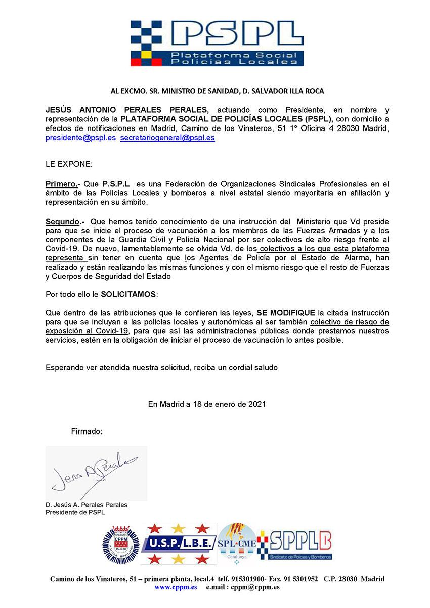 Escrito PSPL Ministro Sanidad vacunación policías locales