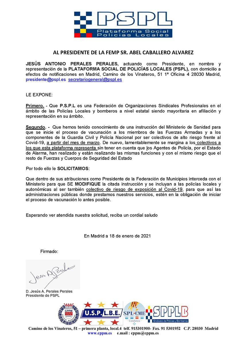 Escrito PSPL Presidente FEMP vacunación policías locales