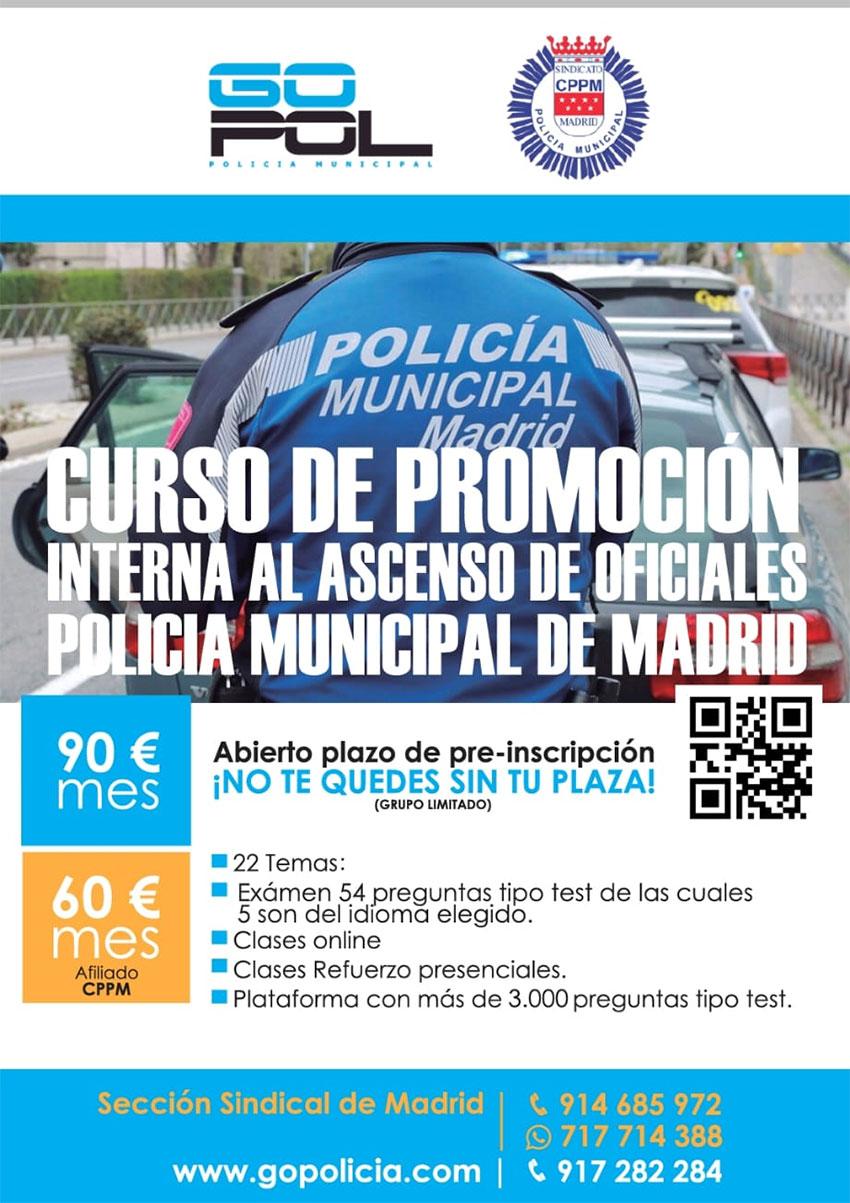 Curso Promoción interna Oficial Policía Municpal Madrid GOPOL-CPPM