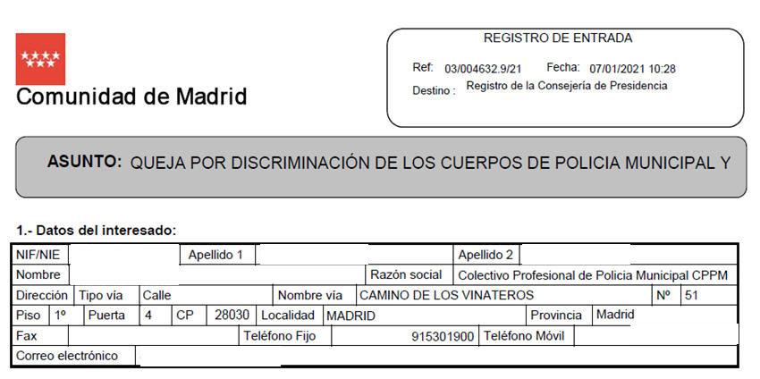 Queja Presidenta Comunidad Madrid discriminación cuerpos policia local