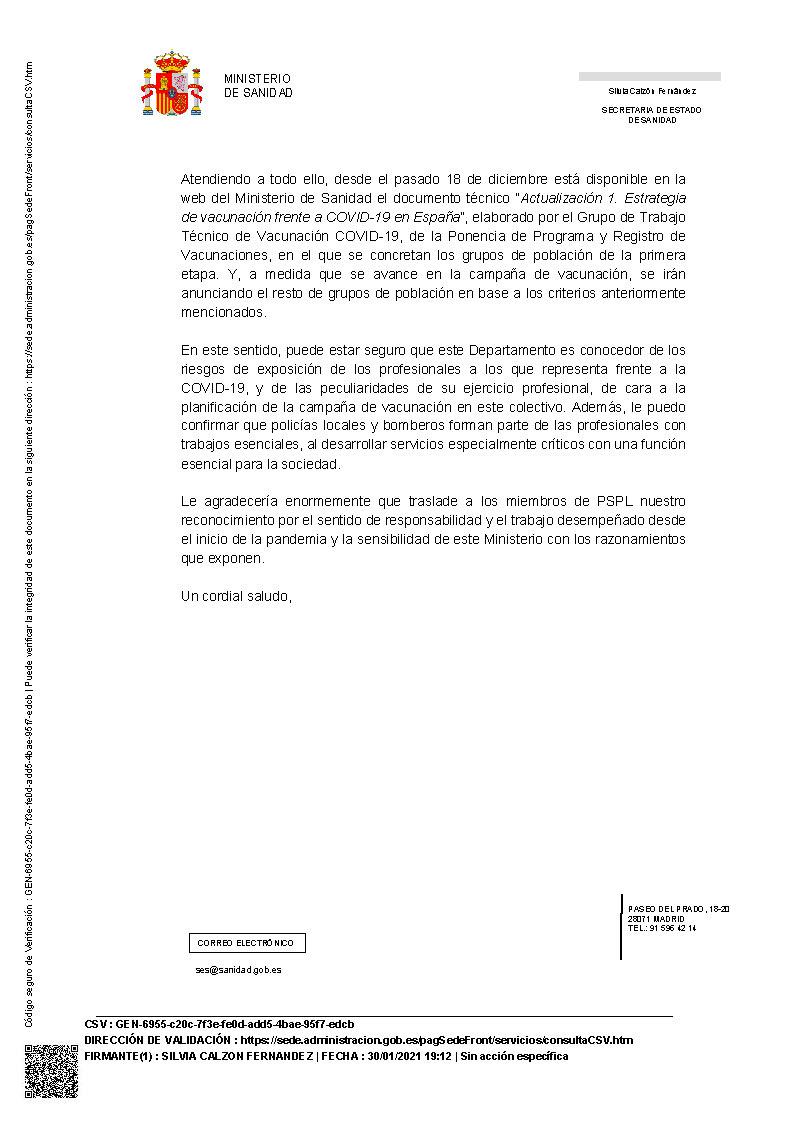 Contestación Ministerio Sanidad tras solicitud vacunación Cuerpos Policía local a la vez aqu el resto de fuerzas y cuerpos de seguridad