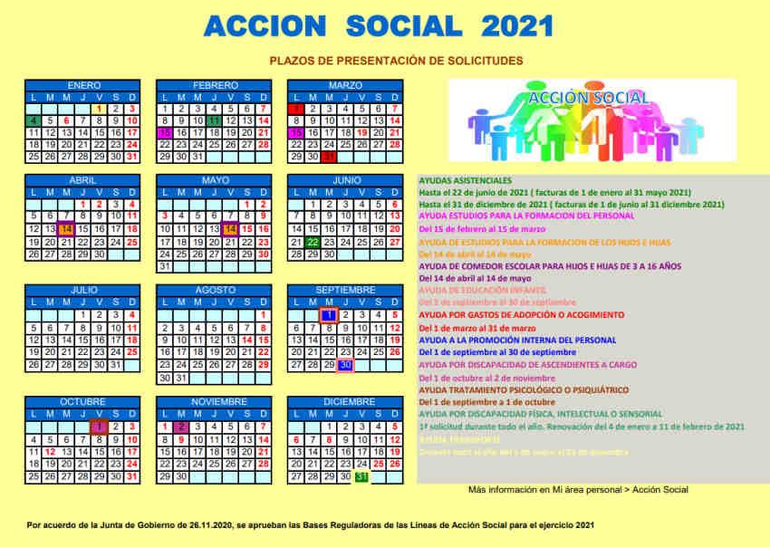 Calendario Acción social 2021