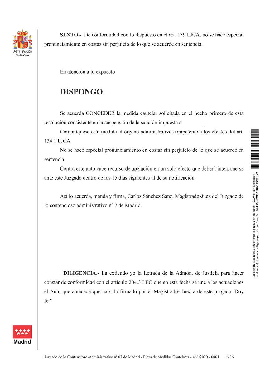 Medidas cautelares Expediente Oficial POlicía local Rivas Vaciamadrid