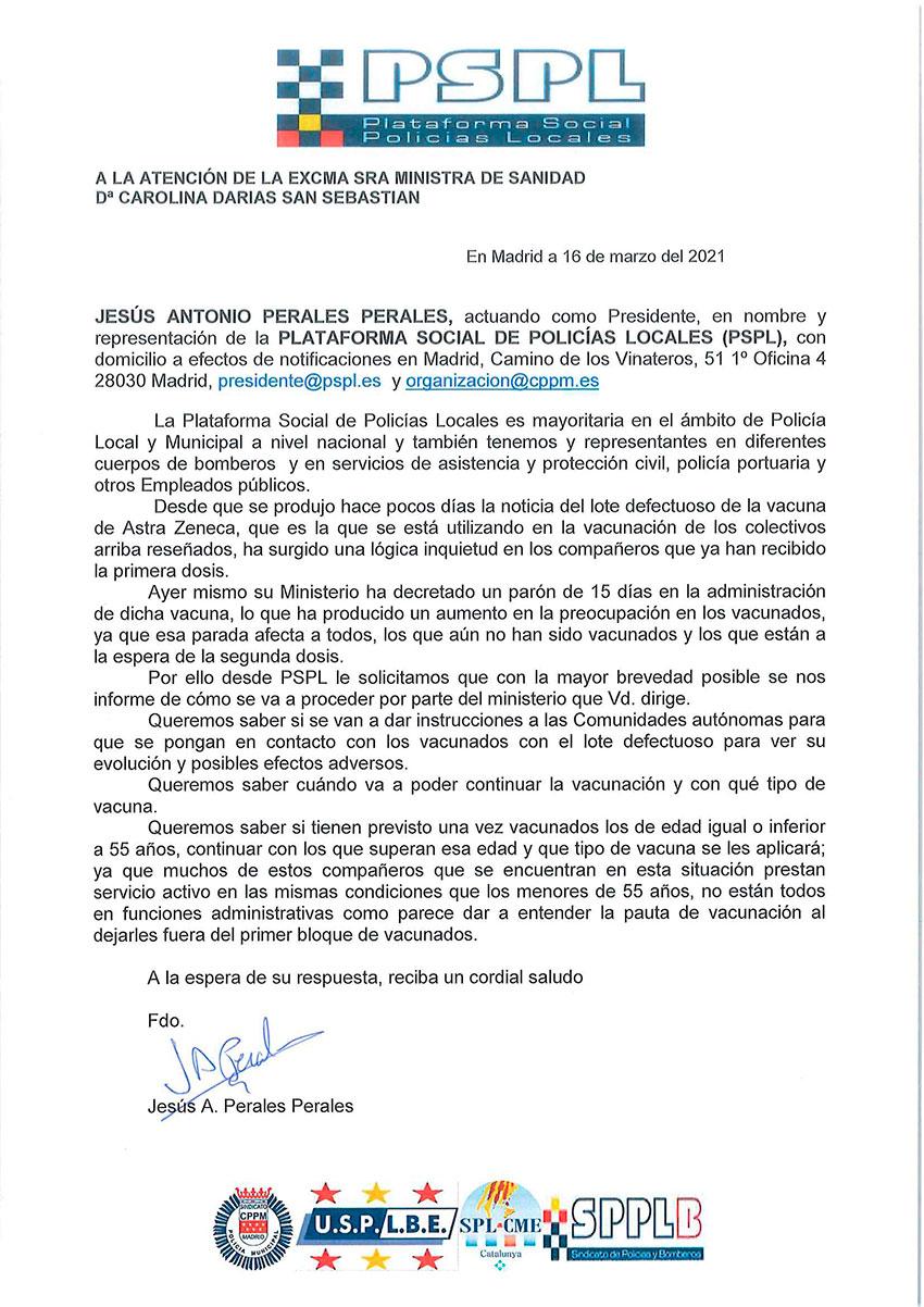 Solicitud Ministra Sanidad vacunacion Astrazeneca y mayores 55 años