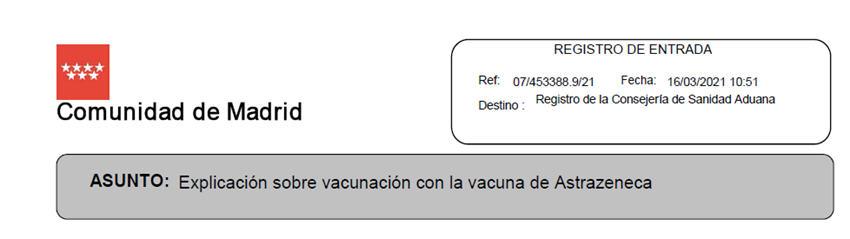 Registro escrito Consejero Sanidad Astrazeneca