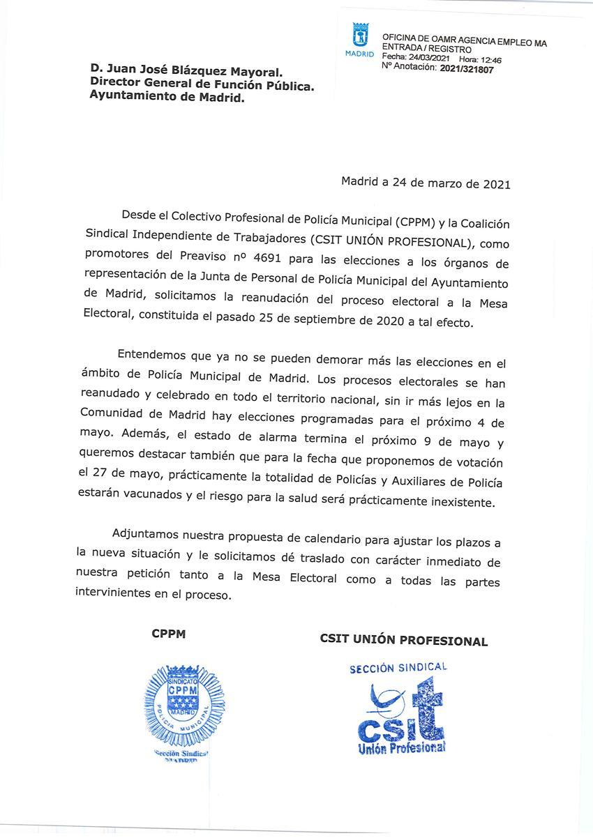 Solicitud reanudación elecciones Junta Personal Policía Municipal Madrid CPPM Madrid CSIT PLA